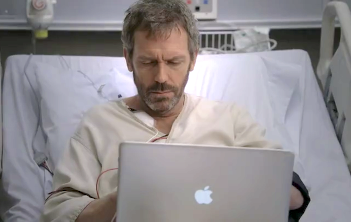 MacBook on a screenshot from House MD TV show