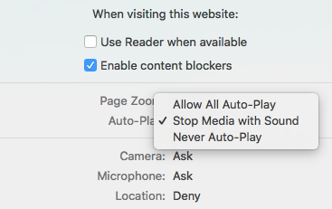 disabling autoplay of media with sound in Safari Preferences