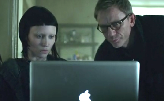 macbook pro in a screenshot of the girl with the dragon tattoo movie